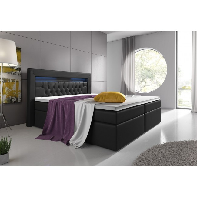 boxspringbett virona mit bettkasten led licht schwarz 180x200cm. Black Bedroom Furniture Sets. Home Design Ideas