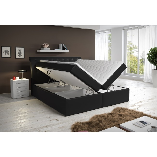 einzelst ck neu boxspringbett 160x200cm in braun mit stauraum betten. Black Bedroom Furniture Sets. Home Design Ideas