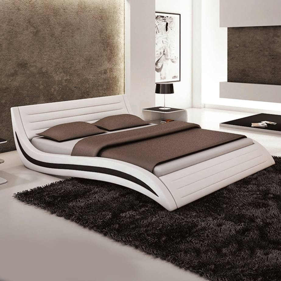 modernes lederbett in wei oder schwarz. Black Bedroom Furniture Sets. Home Design Ideas