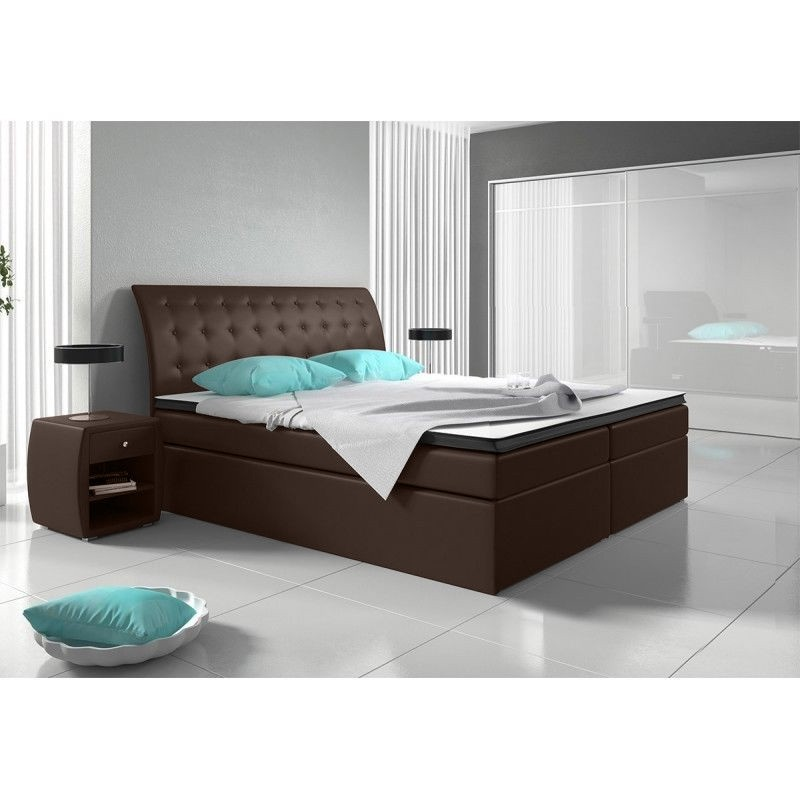 einzelst ck neu boxspringbett 160x200cm in braun mit. Black Bedroom Furniture Sets. Home Design Ideas