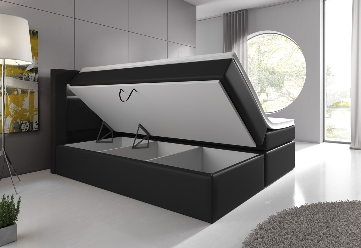 boxspringbett milano mit bettkasten led licht in wei oder schwarz. Black Bedroom Furniture Sets. Home Design Ideas