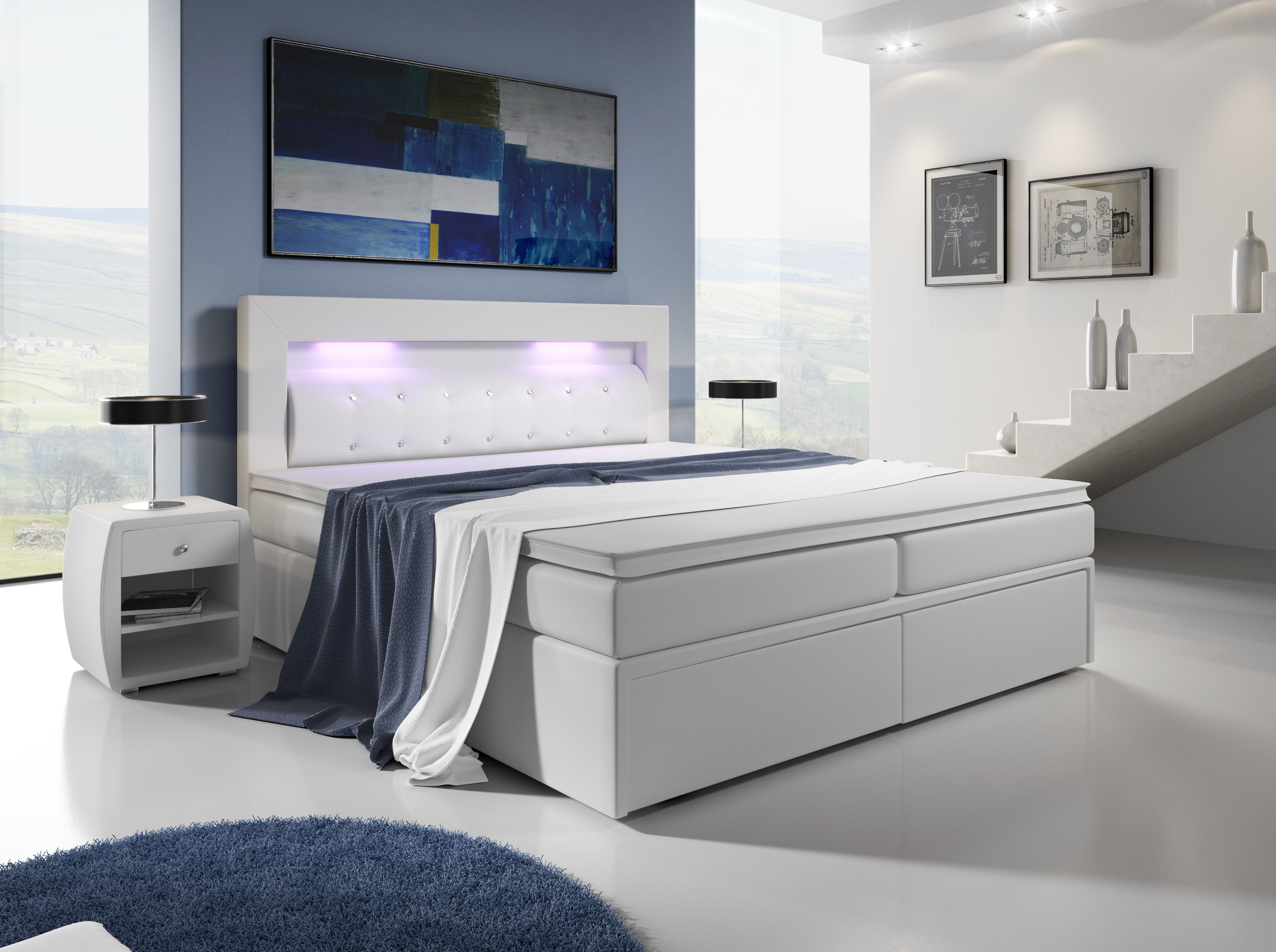 boxspringbett mallorca boxspringbett mit leds mit 2 schubladen. Black Bedroom Furniture Sets. Home Design Ideas
