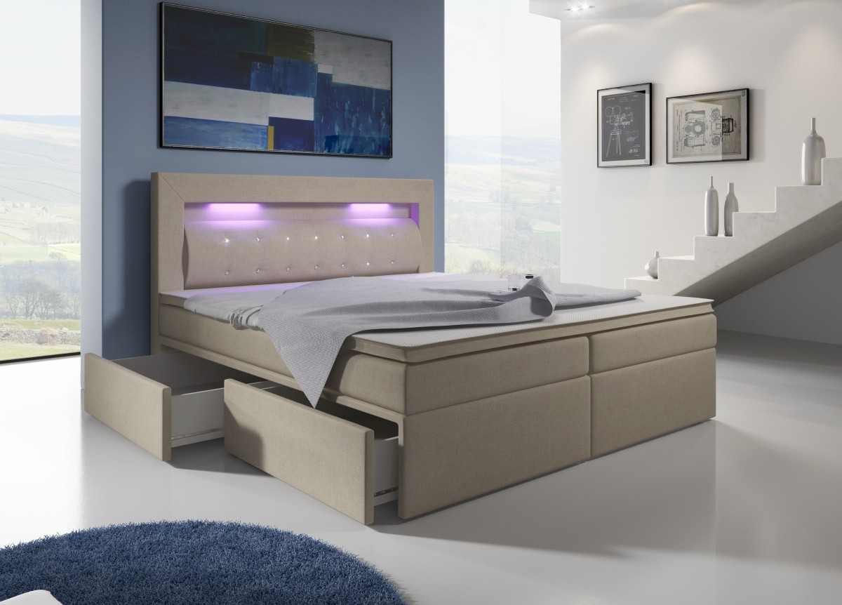 boxspringbett malaga mit 4 schubladen und led licht in verschiedene farben verf gbar. Black Bedroom Furniture Sets. Home Design Ideas