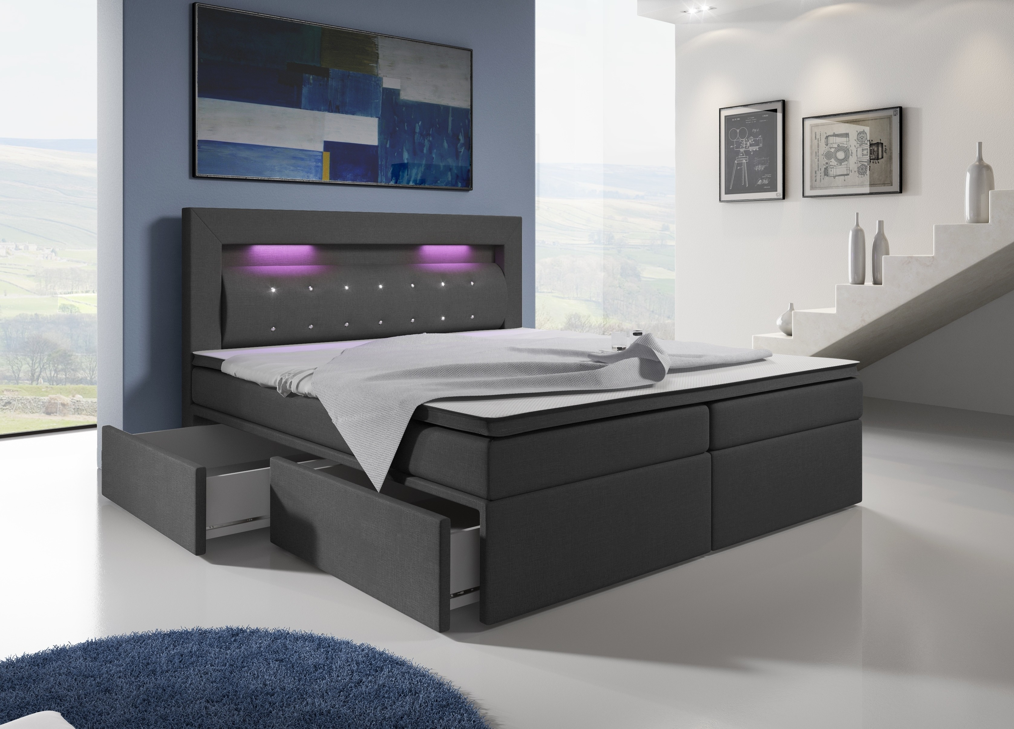 boxspringbett malaga mit 4 schubladen und led licht in verschiedene farben verf gbar betten. Black Bedroom Furniture Sets. Home Design Ideas